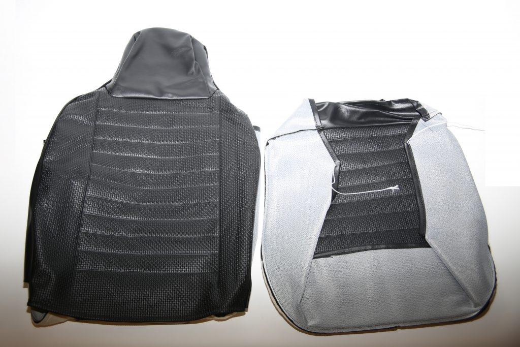 Stoelbekleding zwarte skai is veelal op voorraad voor stoelen vanaf 1965.