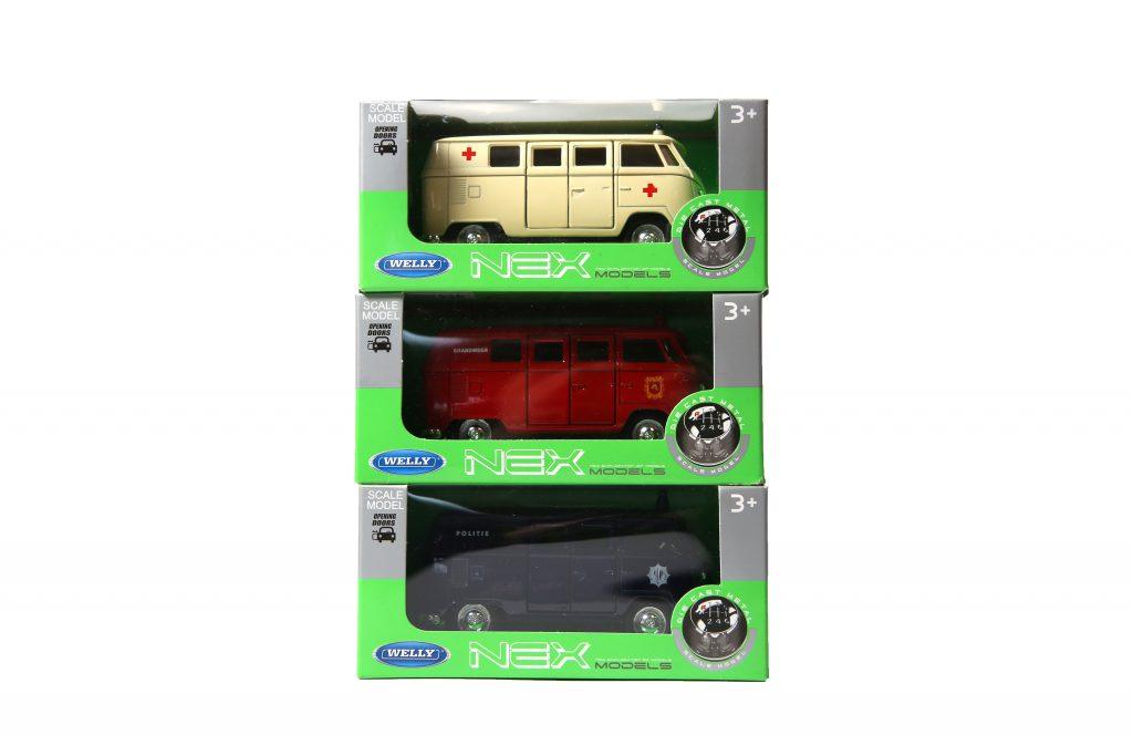Set van 3 miniatuur WELLY busjes Brandweer : Politie : Ambulance NL