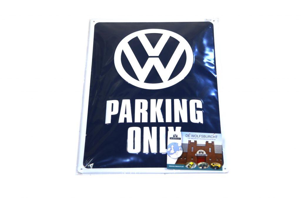 Stalen gebold bord VW parking only